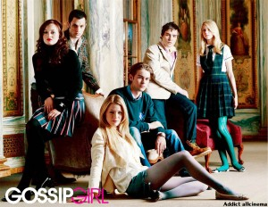 Pictured: (Back Row) Penn Badgley as Dan, Ed Westwick as Chuck, Taylor Momsen as Jenny. (Middle Row) Leighton Meester as Blair, Chace Crawford as Nate. (Front Row) Blake Lively as Serena in GOSSIP GIRL on The CW. Photo Credit: The CW / Timothy White (C) 2007 The CW Network, LLC. All Rights Reserved.